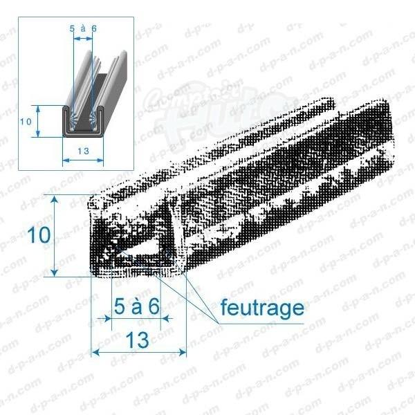 Coulisse de vitre feutr e 13x10mm for Glissiere pour vitre coulissante