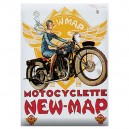 Plaque métal 15x21 cm - Motocyclette New Map