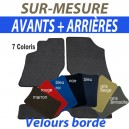 Tapis auto avants sur-mesure en velours bordé